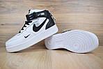 Чоловічі зимові кросівки Nike Air Force 1 Mid 07 LV8 Utility (біло-чорні), фото 7
