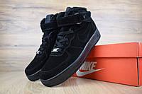 Мужские зимние кроссовки Nike Air Force (черные)