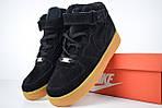 Женские зимние кроссовки Nike Air Force (черно-коричневые), фото 3