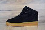 Женские зимние кроссовки Nike Air Force (черно-коричневые), фото 4