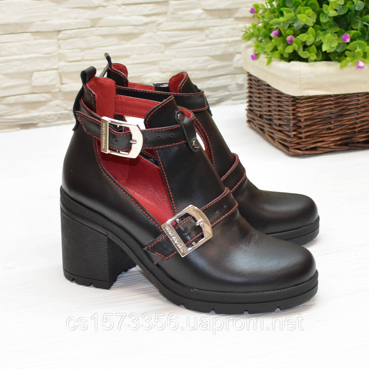 Открытые ботильоны кожаные женские на каблуке, цвет черный/красный