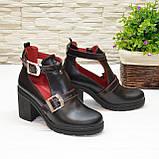 Открытые ботильоны кожаные женские на каблуке, цвет черный/красный, фото 2