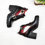 Открытые ботильоны кожаные женские на каблуке, цвет черный/красный, фото 3
