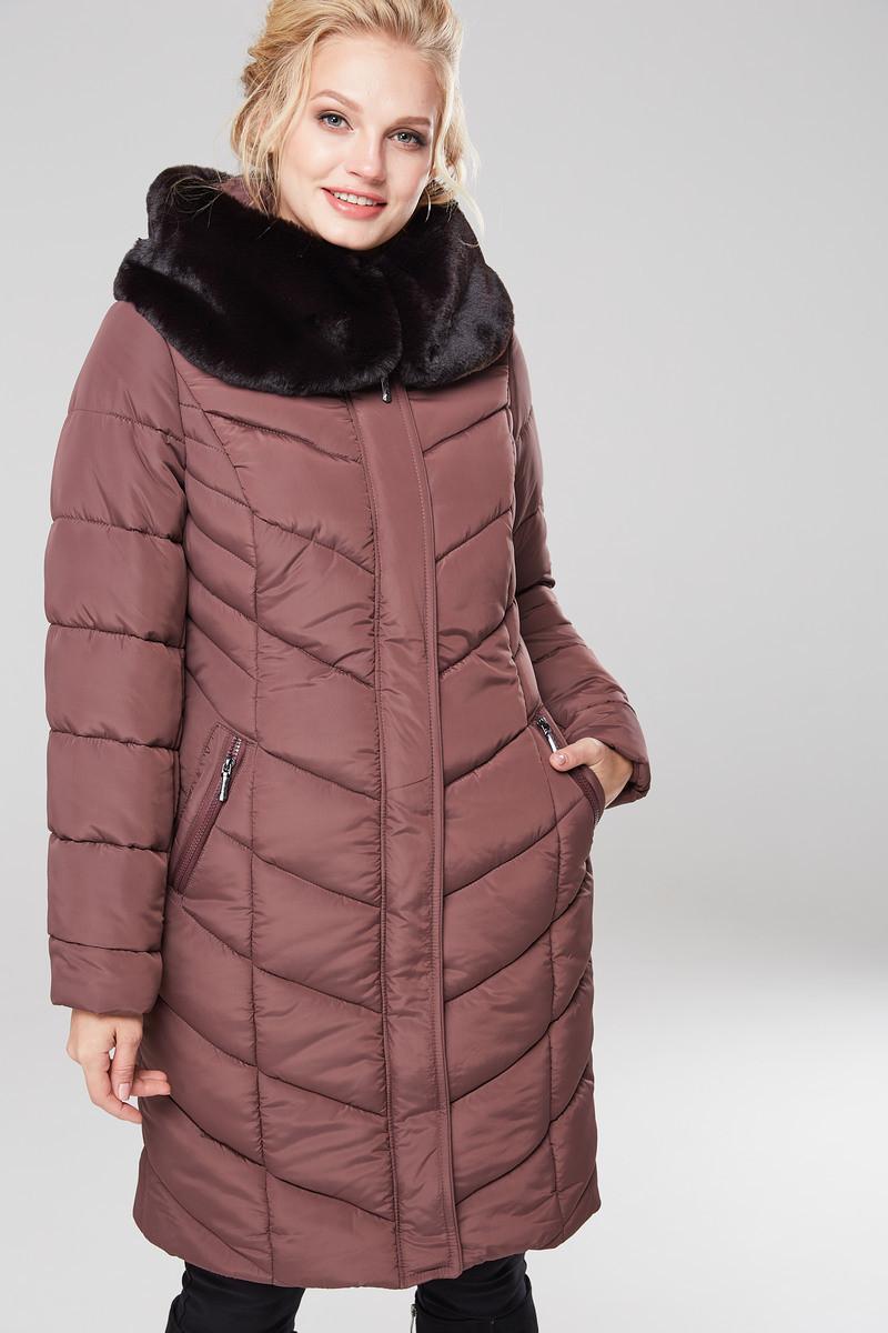 Зимний женский пуховик / пальто Аамаретта 3 кофе размер 46 48 50 52 54 56 58 60 62 64