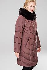 Зимний женский пуховик / пальто Аамаретта 3 кофе размер 46 48 50 52 54 56 58 60 62 64, фото 3