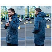 Куртка мужская зимняя удлиненная синего цвета с камуфляжным принтом