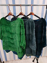 Норковый свитер ярко зеленый