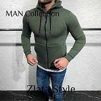 Теплая кофта худи мужская на флисе зеленого цвета с молнией