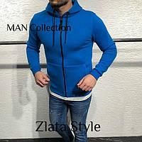 Теплая кофта худи мужская на флисе цвета электрик с молнией