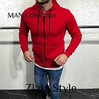 Теплая кофта худи мужская на флисе красного цвета с молнией