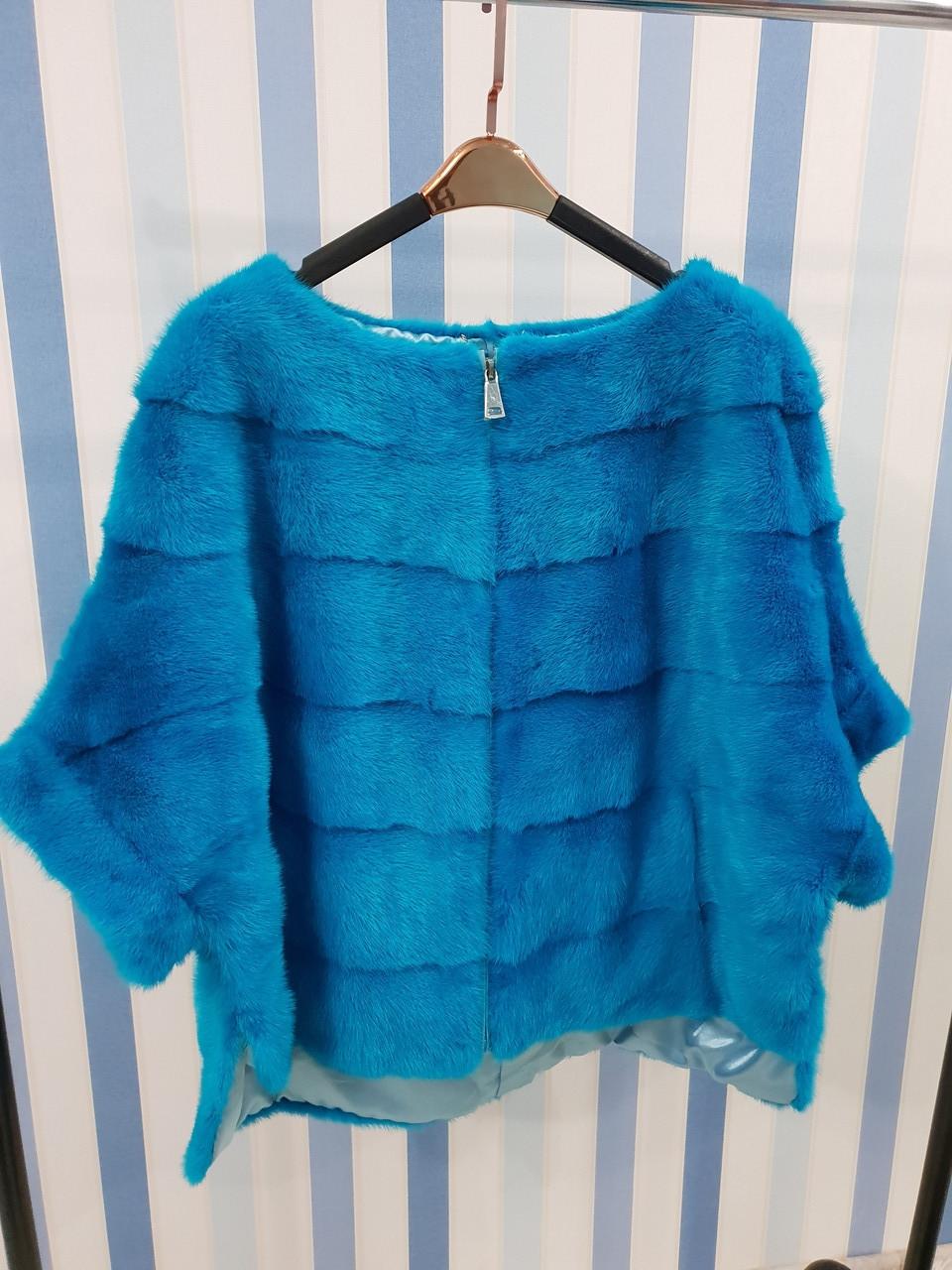 Норковый свитер ярко-синий
