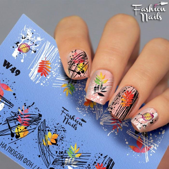 Осенний слайдер-дизайн Fashion nails (Наклейки для дизайна ногтей) листочек осенний арт.W49