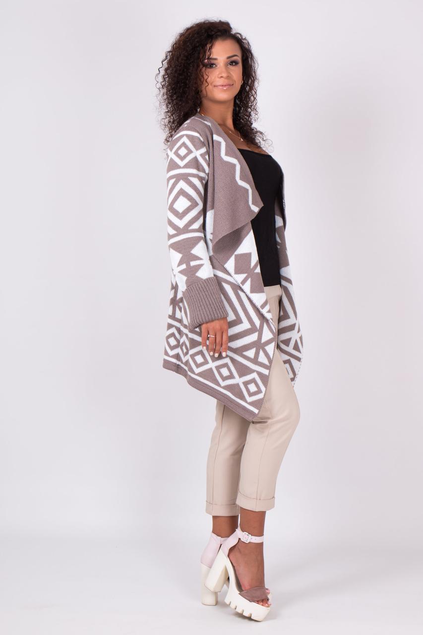 Милая женская кофта кардиган с узорами без застежки 44-52 универсальный размер
