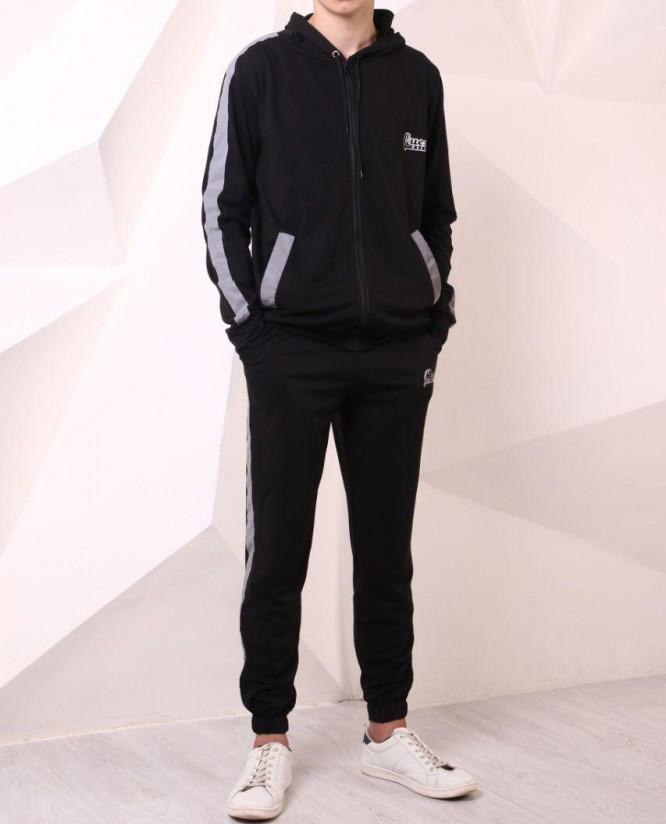 Спортивные штаны Quest Wear 20428 черные с рефлективными лампасами