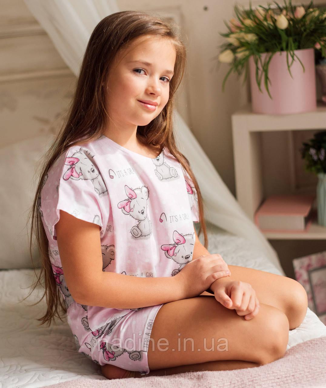 Хлопковая подростковая пижама Eirena  Nadine (785-58 ) Мишки 158/40 розовый