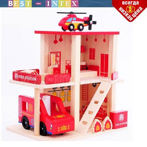 Деревянная игрушка Гараж MD 1059 Пожарная станция