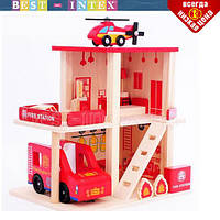 Деревянная игрушка Гараж MD 1059 Пожарная станция, фото 1