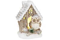 Новогодний декор Дом с Совой с LED-подсветкой на батарейках (3xAAA), 38см