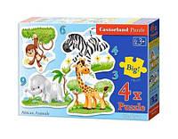 """Пазлы 4 в 1 """"Африканские животные"""" В-005017 scs"""