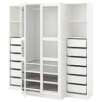 PAX Шкаф, белый, в tyssedal стекло, 200x60x201 см