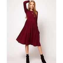 Платье трикотажное расклешенное с длинным рукавом средней длины миди 6 цветов, фото 3
