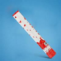 Хлопушка бумфети 50 см, наполнитель искуственные лепестки роз красные