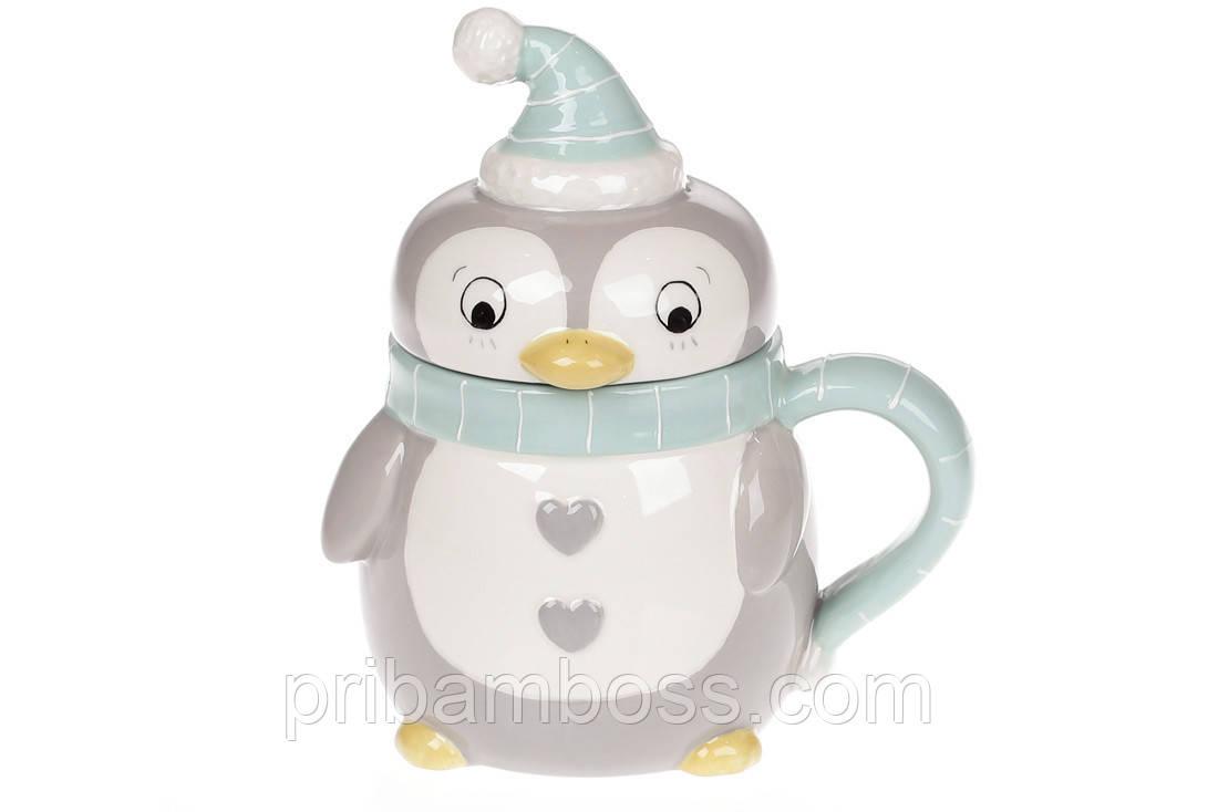 Кружка керамическая с крышкой Пингвинчик, 370мл, цвет - голубой