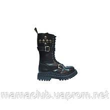 Высокие ботинки Steel черные 15 дырок c черепами и ремнями 135-136/O/2P(1,3)/6 SKULLS-CH/Z/B