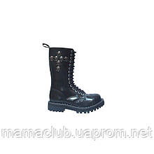 Высокие ботинки Steel черные с крестом из черепов 15 дырок 135-136/O/7SKULL-CH/B
