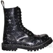 Высокие ботинки Steel черные с черепами 10 дырок 105-106/O/B/SKULLS-WHT/B
