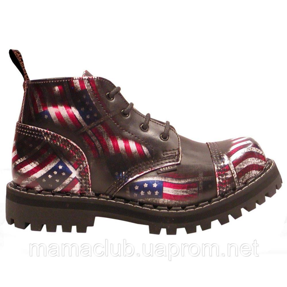 Низкие ботинки Steel коричневые с принтом флага США 4 дырки 133-134/O/US/BLACK