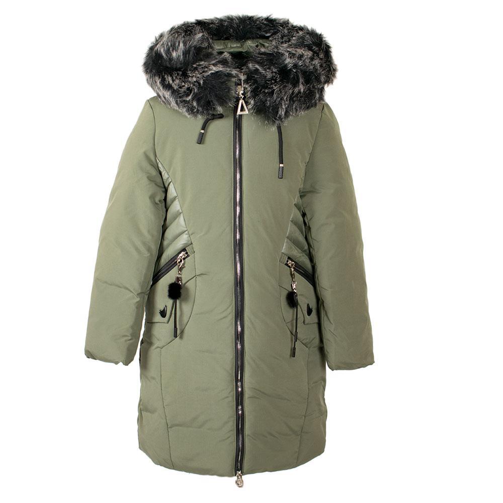 """Пальто зимнее для девочек """"Кузя"""" 128  оливковый 66-484"""
