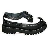 Низкие женские ботинки Steel черно-белые 4 дырки 112/O/B-F.WH, фото 6
