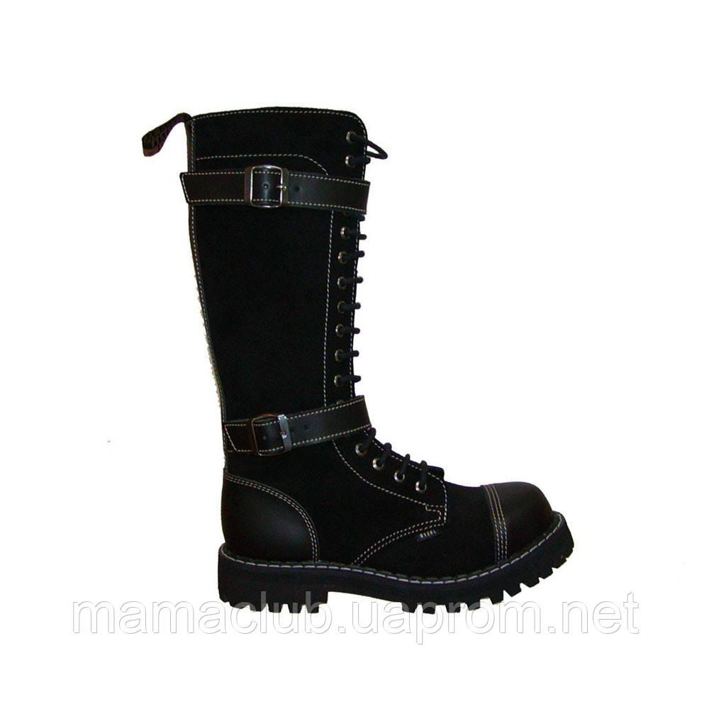 Зимние ботфорты Steel с шерстью черные с 2 ремнями 20 дырок 139-140/O/2P(2,5)/Z/B/W10