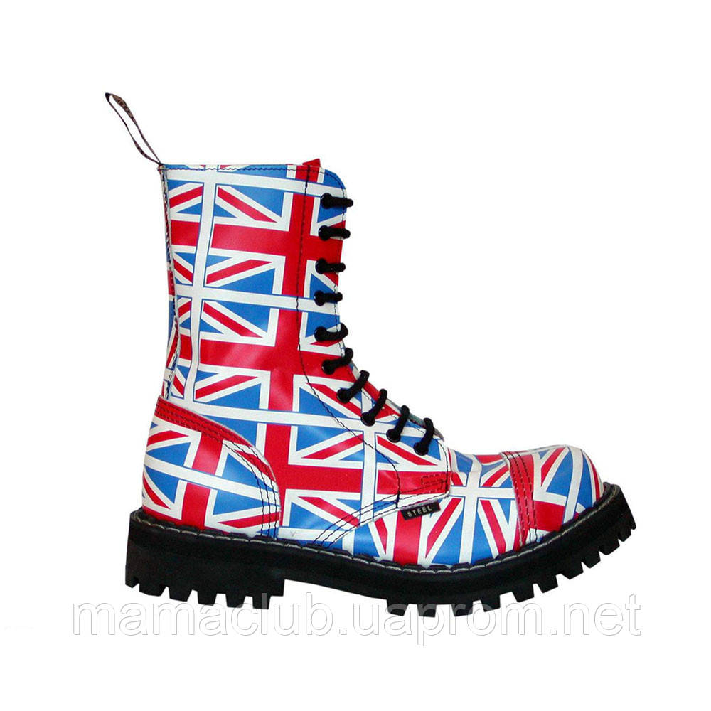 Зимние берцы Steel с шерстью разноцветные с британским флагом 10 дырок 105-106/O/F.UK