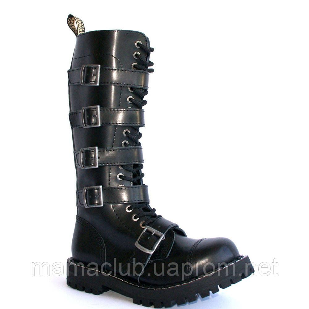 Зимние ботфорты Steel с шерстью черные с ремнями  20 дырок 139/140/O/5P/Z/B