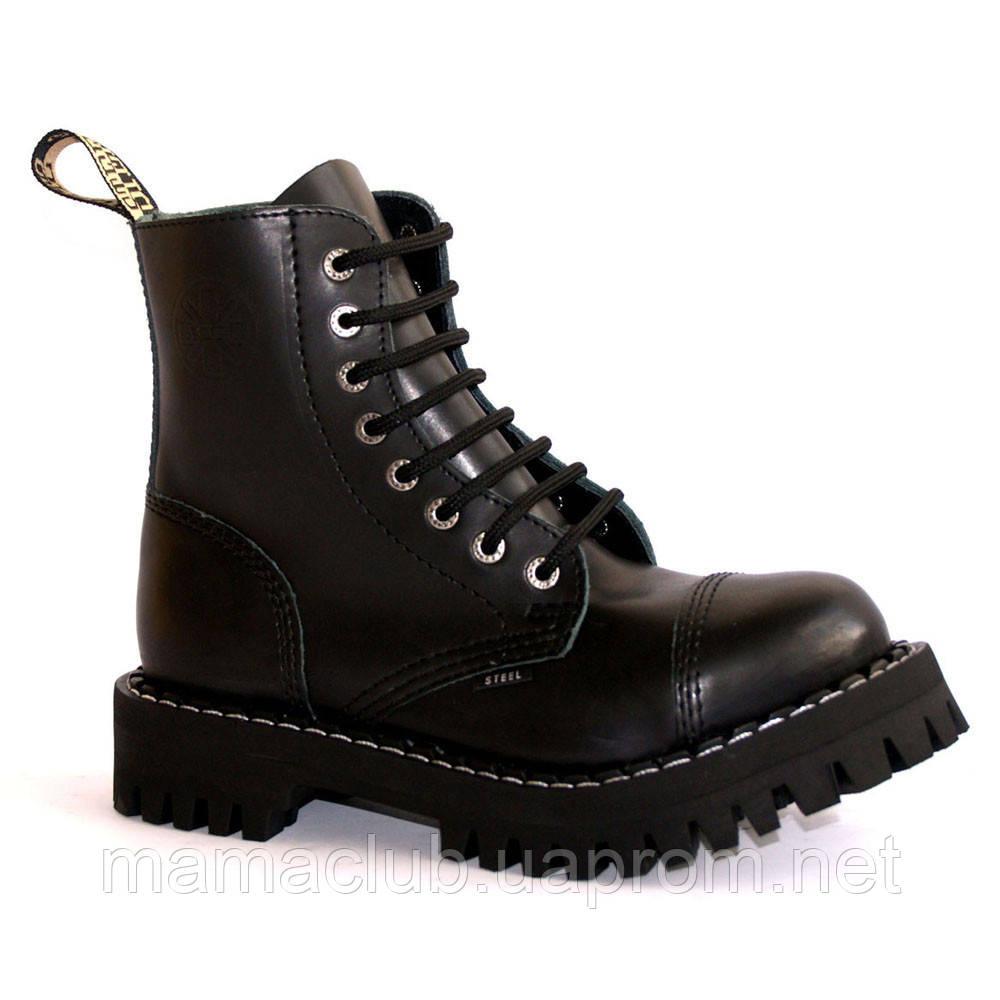 Зимние ботинки Steel с шерстью черные 8 дырок 113-114/OM/B