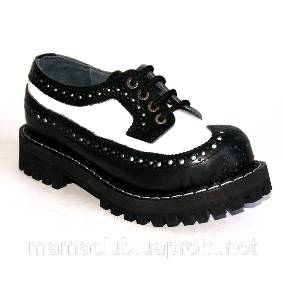 Низкие женские ботинки Steel черно-белые 4 дырки 112/O/B-F.WH