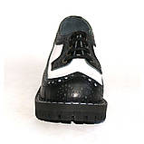 Низкие женские ботинки Steel черно-белые 4 дырки 112/O/B-F.WH, фото 4
