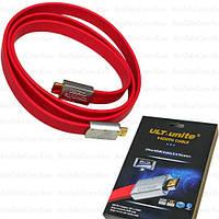 Шнур HDMI ULT-unite (штекер - штекер) version 2.0, металл.gold, 3м, красный, в коробке