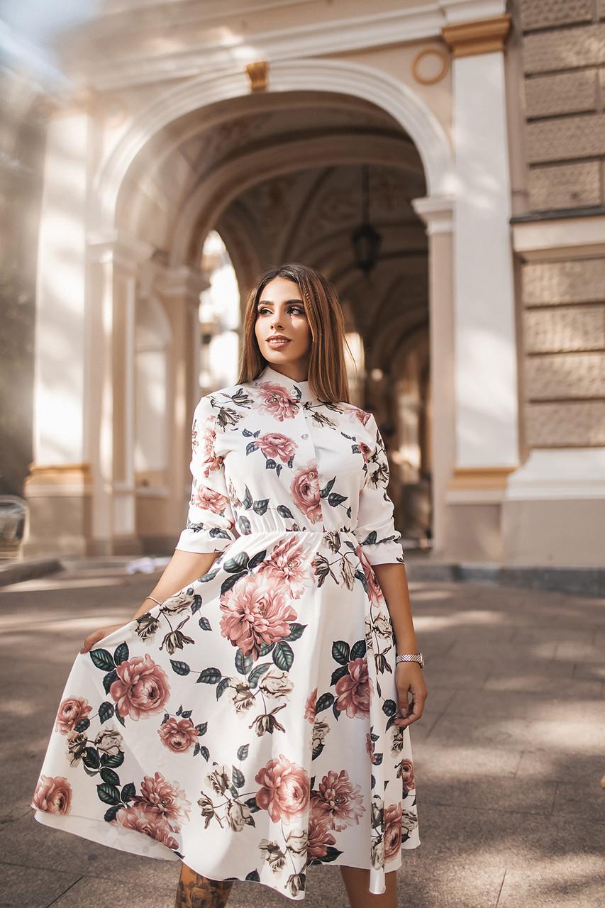 Эффектное платье Цветы 5076