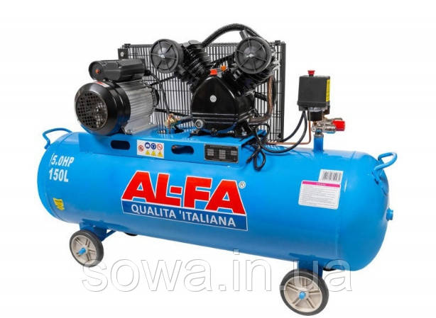 ✔️ Компрессор двухпоршневой  - AL-FA_ Альфа ALC-150-2 ( 150 літрів, 2 поршня, 3,8 кВт )