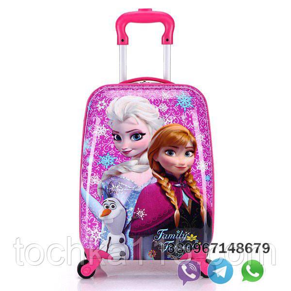 Детский пластиковый чемодан на колесах Холодное сердце ручная кладь, дитячі чемодани, дитячі валізи
