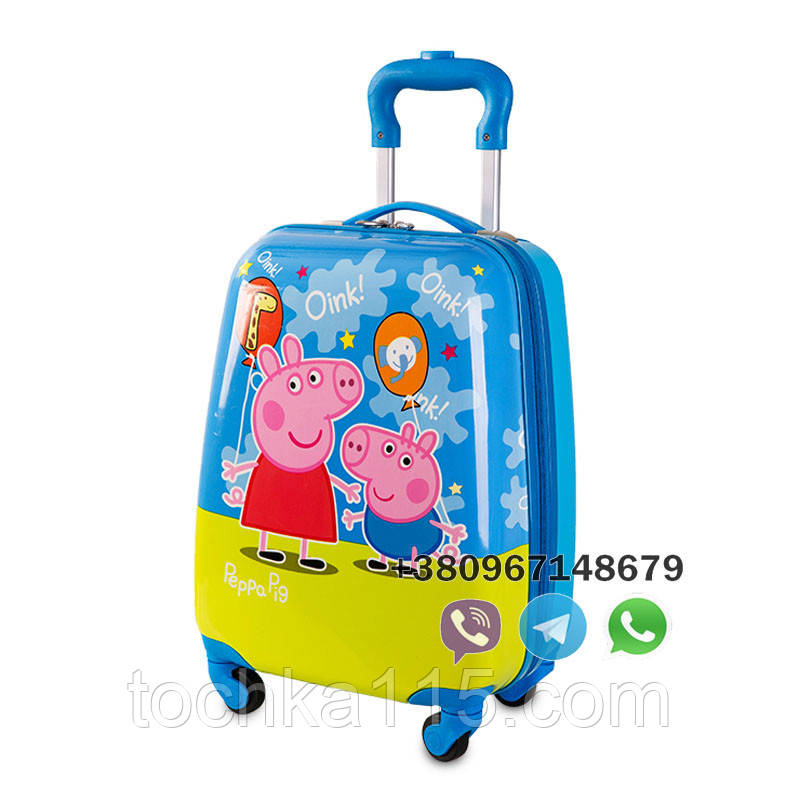 """Детский пластиковый чемодан на колесах  """"Свинка Пеппа"""" ручная кладь, дитячі чемодани, дитячі валізи"""