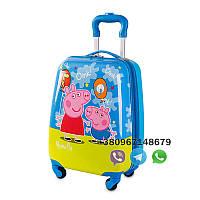 """Детский пластиковый чемодан на колесах  """"Свинка Пеппа"""" ручная кладь, дитячі чемодани, дитячі валізи, фото 1"""
