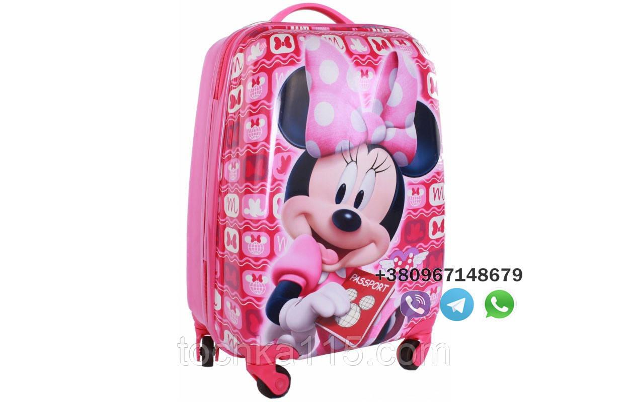 """Детский пластиковый чемодан на колесах  """"Мини Маус"""" ручная кладь, дитячі чемодани, дитячі валізи"""