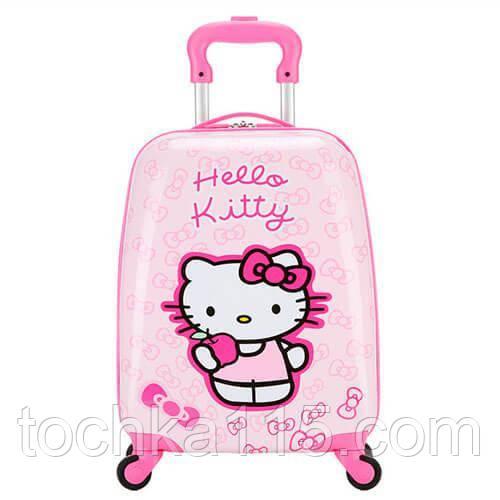 """Детский пластиковый чемодан на колесах  """"Hello Kitty"""" ручная кладь, дитячі чемодани, дитячі валізи"""