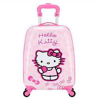 """Детский пластиковый чемодан на колесах  """"Hello Kitty"""" ручная кладь, дитячі чемодани, дитячі валізи, фото 1"""