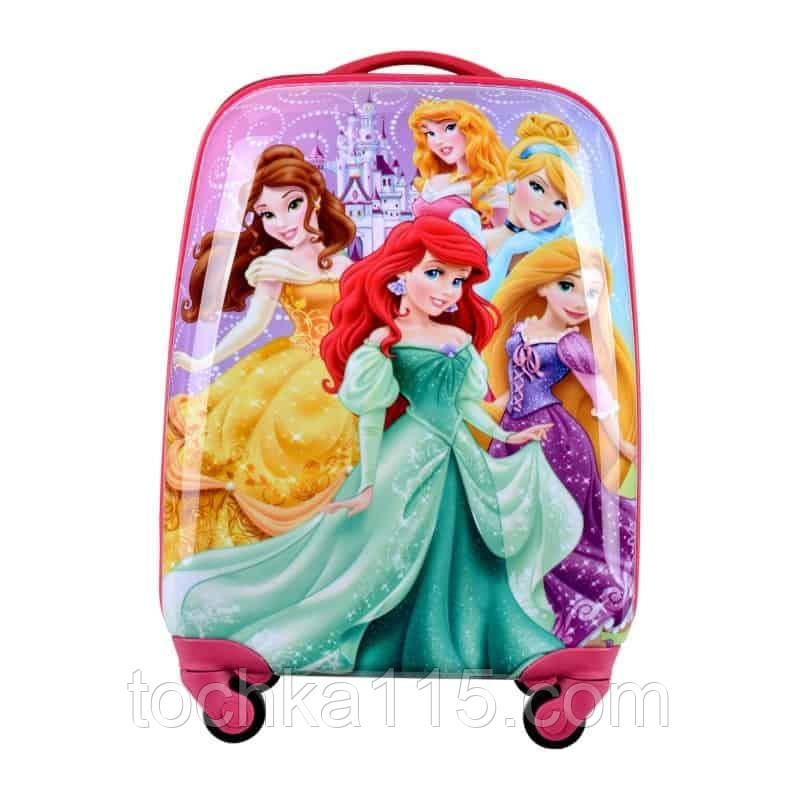 "Детский пластиковый чемодан на колесах  ""Принцессы"" ручная кладь, дитячі чемодани, дитячі валізи"