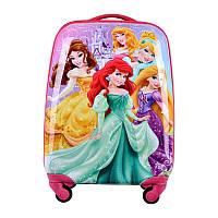"Детский пластиковый чемодан на колесах  ""Принцессы"" ручная кладь, дитячі чемодани, дитячі валізи, фото 1"